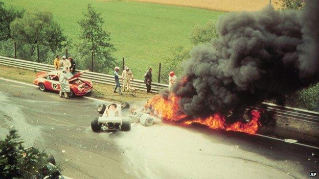 Niki Lauda's hellish crash in 1976