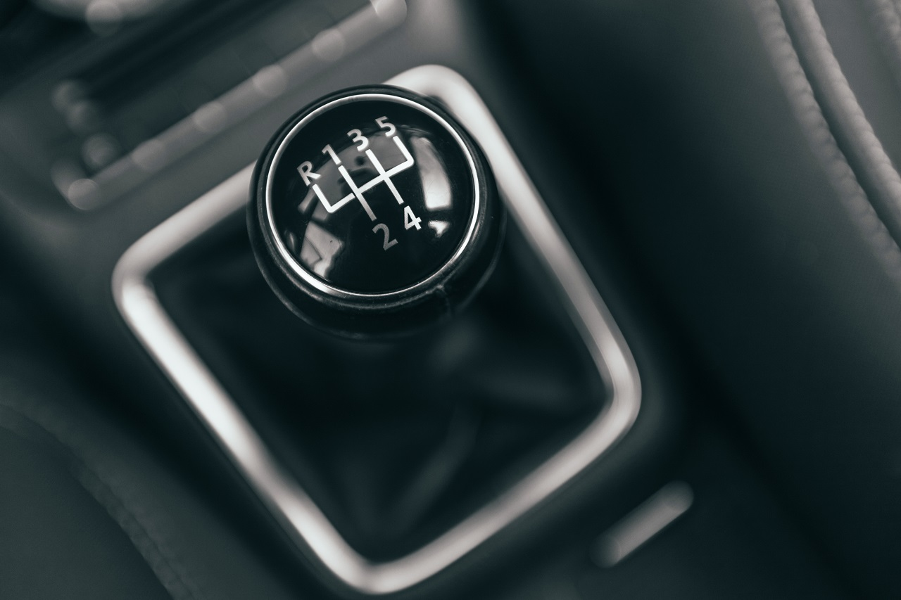 A gear stick in a manual vehicle