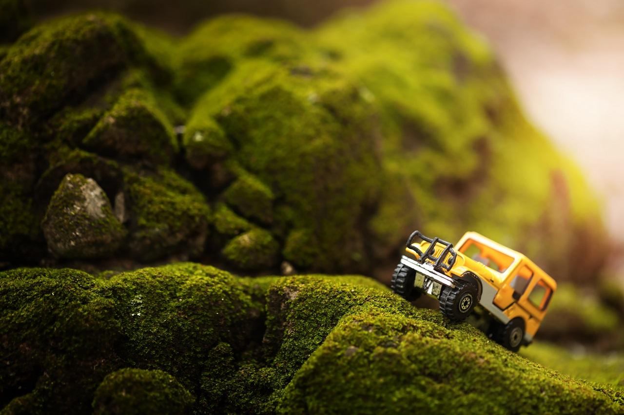 A miniature car off-road driving
