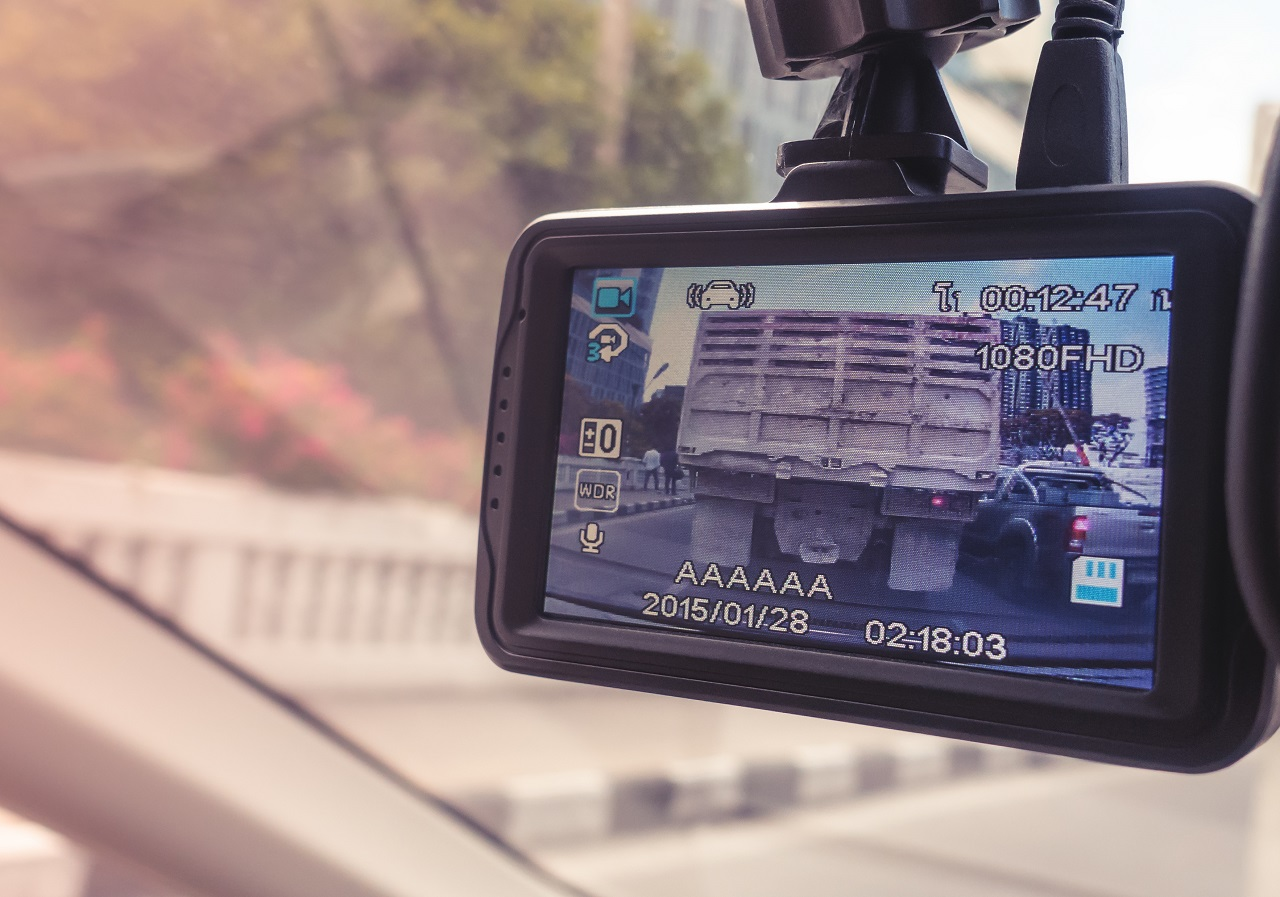 Close up of a car dashcam