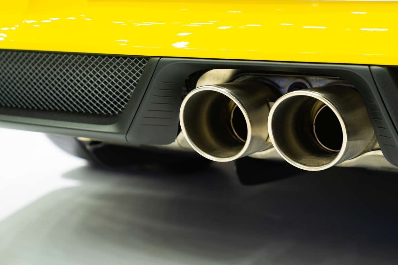 Chambered muffler on a car