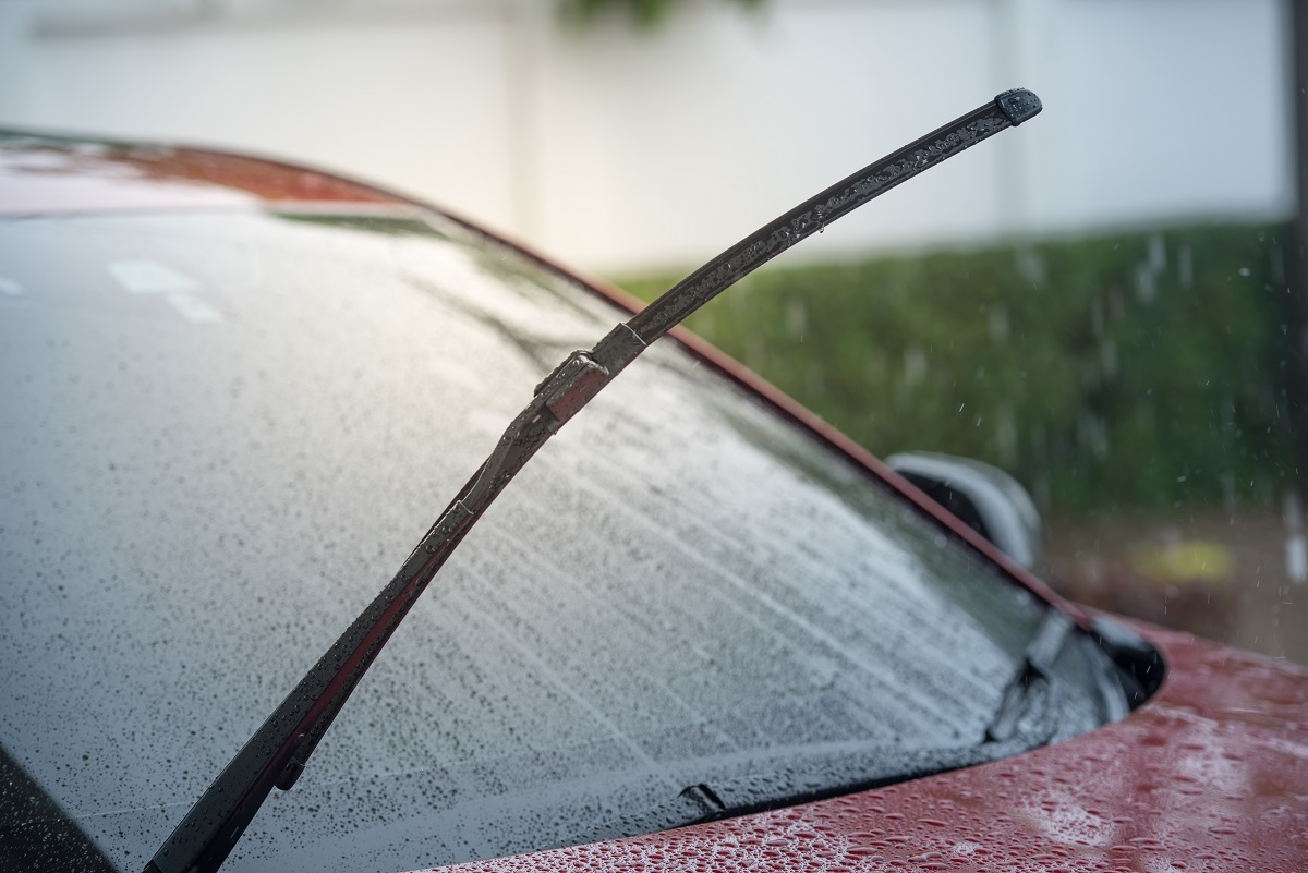 Cars parked in the rain in the rainy season and have a wiper sys