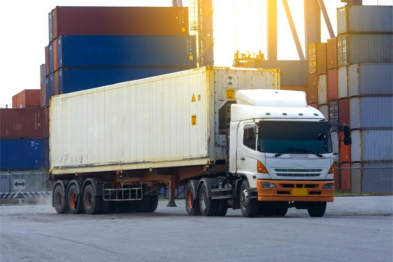 Truck in a logistics center