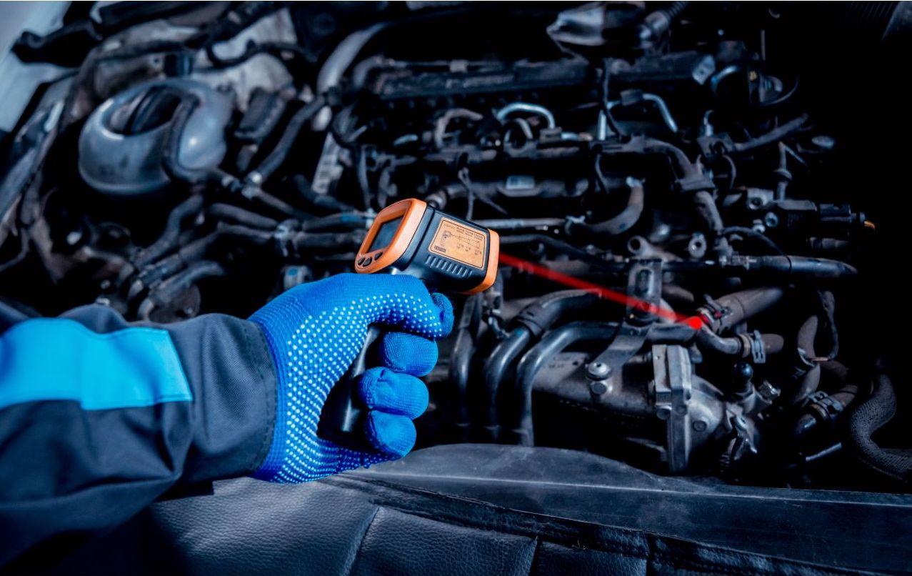 Checking car engine temperature